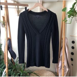 Banana Republic Black Cable Knit V-Neck Sweater